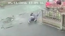 CCTV captured the moment Rigby's speeding car struck a pedestrian.