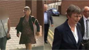 L: Marilyn Smith arriving at court. R: Eileen Coull.