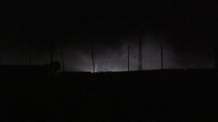 The sky above Raqqa was lit up by the overnight fighting.