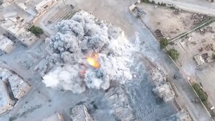 Drone footage obtained exclusively by ITV News showed the power of the Western aerial assault on Isis.