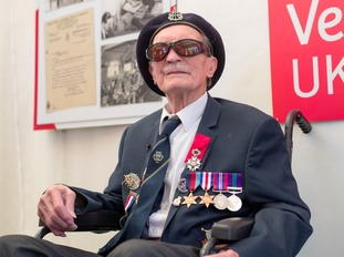 Blind D-Day veteran Alfred Barlow (right), 96, who lost his medals at a motorway service station