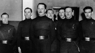 William 'Lord Haw-Haw' Joyce (left) with Oswald Mosley (leader of British Union of Fascists - third from left) and British Union of Fascists