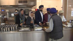 Preet Gill volunteering at the Gurdwara alongside her family