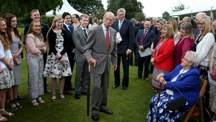 The 96-year-old was centre of attention at the palace garden reception.