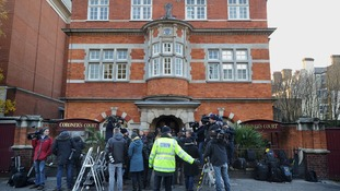 Members of the media gathered outside Westminster Coroner's Court.
