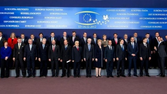 European leaders pose for the traditional family photo at the start of the EU summit