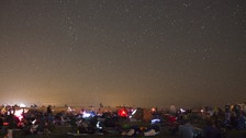 People watch the annual Perseid meteor shower in Mitzpe Ramon, Israel (August 2012).