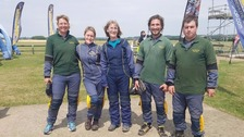 Rosa's mum Andrea King (middle) ready for the skydive.