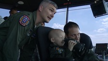 Jay Martin, 5, on a VIP trip to the US Airforce in Mildenhall, Suffolk