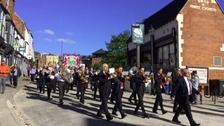 Marching through the streets at the Durham Miners Gala