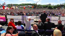 Labour leader Jeremy Corbyn waits to address the crowd during the Durham Miners' Gala at Durham Old Racecourse.