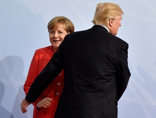 While Mrs Merkel and Mr Trump looked like old dancing partners.