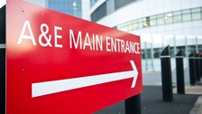 Generic shot of an A&amp;E department sign 
