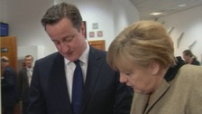 Prime Minister David Cameron and German Chancellor Angela Merkel this morning