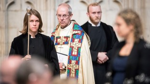 The Archbishop of Canterbury Justin Welby (second left) during the Eucharist at York Minster in York.