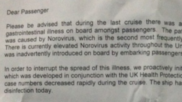 Letter given to passengers on board the cruise ship P&O Oriana