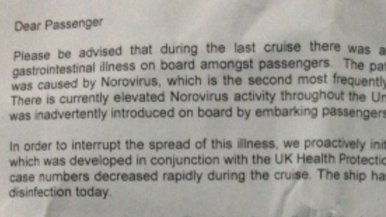 Letter given to passengers on board the cruise ship P&amp;O Oriana