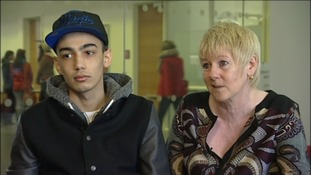 Martin Solomon, 20, with his mum Paula