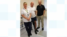 John Miller (centre) is a first patient to have the new computerised prosthetic knee