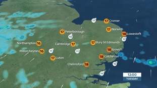 Temperatures across East Anglia