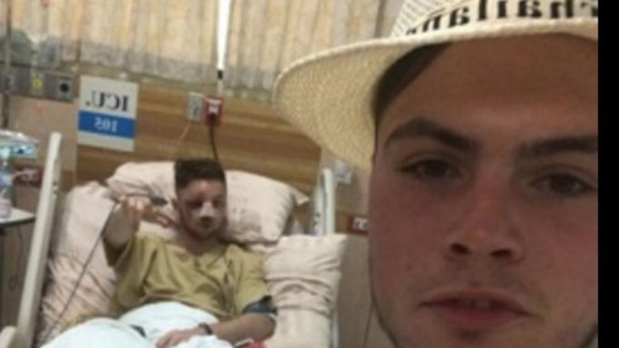 Luke in hospital with his friend Harvey Hughes