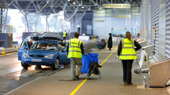 Cleaners arrive at the Ocean Terminal in Southampton 