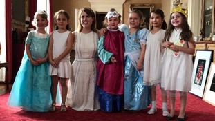 Harper (third from right) with Princess Eugenie and friends.