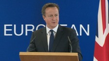 Prime Minister David Cameron speaking at the EU summit in Brussels
