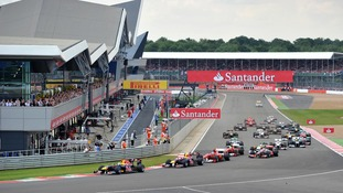 F1 cars in action at the British Grand Prix