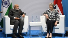 Prime Minister Theresa May and Indian Prime Minister Narendra Modi