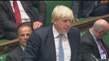 Foreign Secretary Boris Johnson speaking in Parliament