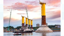 Gravity-based foundations being constructed on the River Tyne