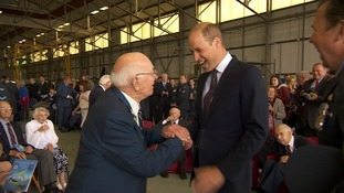 The Duke of Cambridge hears tales of heroic aerial dogfights from Battle of Britain pilots
