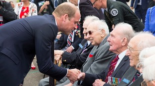 The Duke of Cambridge greeted veterans of the Battle of Britain