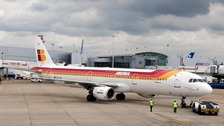 An Iberia plane at Heathrow Airport.