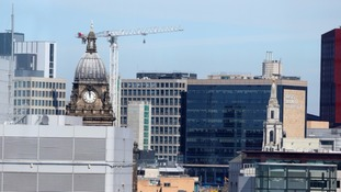 Views of the town hall and new construction taking place in Leeds city centre.