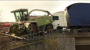 Combine harvester crash