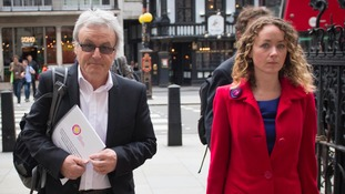 Ann Maguire's husband Don and daughter Kerry arrive at court in London.