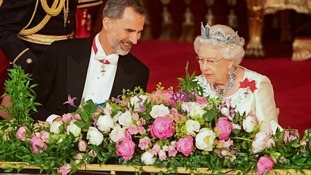 King Felipe was hosted by the Queen at a banquet.