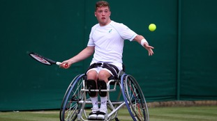 Alfie Hewett in action at Wimbledon.
