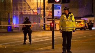 Police outside the Manchester Arena after the 22 May suicide bombing.