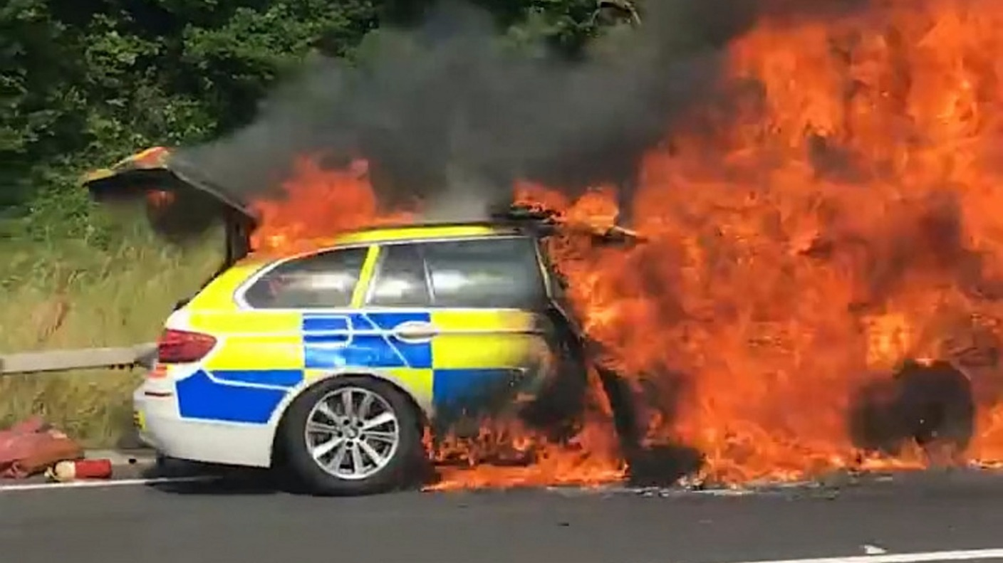 police car goes up in flames near exeter west country. Black Bedroom Furniture Sets. Home Design Ideas