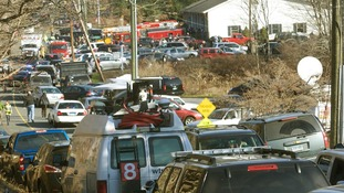 The scene outside Sandy Hook Elementary School in Newton Connecticut