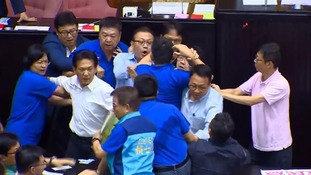 Fight breaks out between rivals in Taiwanese parliament