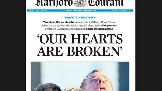 The front page of the Hartford Courant