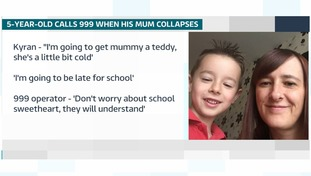 Listen to adorable five-year-old Kyran call 999 when his mum fell unconscious