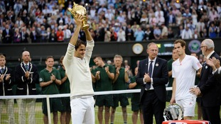 Federer beat Andy Murray in the 2012 Wimbledon final.