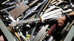 Some of the knives collected during an amnesty in London.