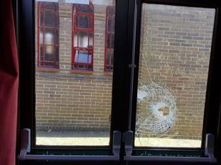Vandals have broken windows at the West End foodbank