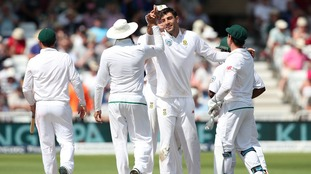 South Africa's Duanne Olivier celebrates the wicket of James Anderson.